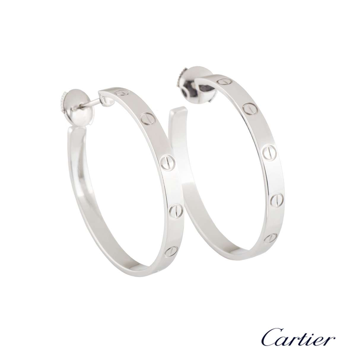 Cartier White Gold Plain Love Earrings B8028300
